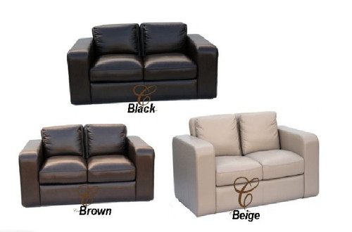 JOH 2S + 2S - 100% COW LEATHER LOUNGE SUITE - ASSORTED COLOURS