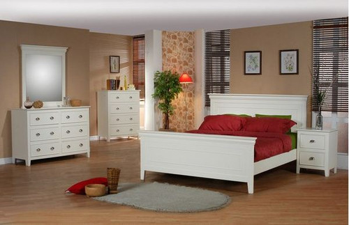 AMESBURY  KING 6 PIECE (THE LOT)  BEDROOM SUITE (MODEL HC-703)  - ANTIQUE WHITE