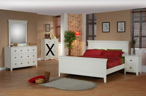 AMESBURY  KING 5 PIECE DRESSER  BEDROOM SUITE  (MODEL HC-703) - ANTIQUE WHITE