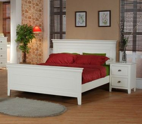 KING SINGLE  AMESBURY BED  (MODEL HC-703) -  ANTIQUE WHITE