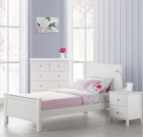 EMPRESS SINGLE OR KING SINGLE 3 PIECE BEDROOM SUITE ((2-18-15-4-9-5) - WHITE
