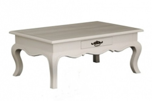 FRENCH PROVINCIAL  2 DRAWER COFFEE TABLE (CT 002 FP) - 900(W) X 600(D) - WHITE