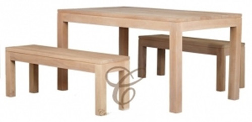 AMSTERDAM (DT 150 90 TA SET (WS) )  DINING TABLE  WITH 2 BENCHES - 1500(L) x 900(W) - WASHED