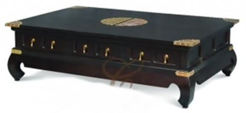 CHINESE  6  DRAWER  COFFEE TABLE (  CT 006 CSN) - 1500(W) X 1000(D) - MAHOGANY OR CHOCOLATE