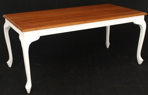 QUEEN ANN  TWO - TONED DINING TABLE (DT 180 90 QA ) - 1800(L) X 900(W) - WHITE / CARAMEL