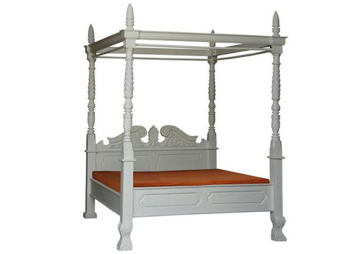 KING JEPARA 4 POSTER BED (BS 400 CV KING) - WHITE (MADE TO ORDER )