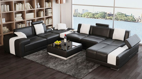MALFIDA   CHAISE LOUNGE SUITE (F3009) - CHOICE OF LEATHER AND ASSORTED COLOURS AVAILABLE