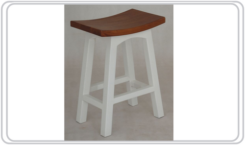 LATSON 2-TONE WOODEN BAR STOOL / KITCHEN BENCH (BR067WD) - SEAT: 670(H) - WHITE / CARAMEL