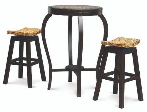 ORNAMENT BAR TABLE  WITH 2x STOOLS  - 1000(H) * 700(D) - CHOCOLATE