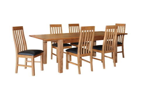 ECCO 7 PIECE  DINING SETTING WITH EXTENDABLE - 1800/2400(L) X 1000(W) - LIGHT OAK