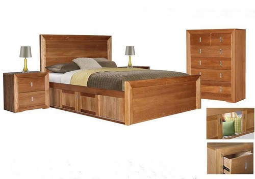 ECCO QUEEN 4 PIECE  TALLBOY  BEDROOM SUITE  - LIGHT OAK