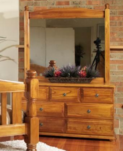 AVONDALE 7 DRAWER DRESSER WITH MIRROR - 795(H) X 1400(W) - CHESTNUT (PICTURED) OR WALNUT