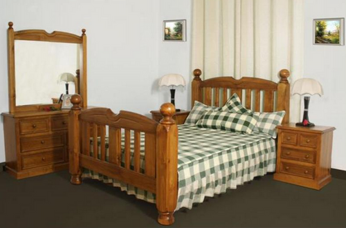 BORON KING 5 PIECE DRESSER  BEDROOM SUITE (MODEL - 23-9-14-38-5-19-12-5-18)  - CHESTNUT OR WALNUT