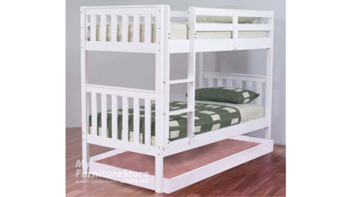SINGLE LINDFIELD (MODEL 10-5-19-20-5-18) BUNK BED WITH MATCHING SINGLE BUDGET TRUNDLE BED - ARCTIC WHITE