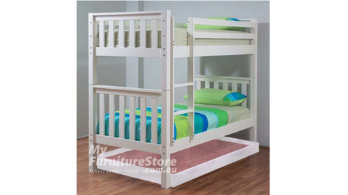 SINGLE SUSSEX/AWESOME BUNK BED WITH MATCHING SINGLE BUDGET TRUNDLE BED - ARCTIC WHITE
