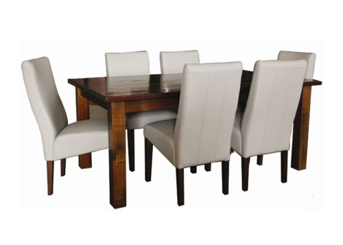 ASIDA  9 PIECE  DINING SETTING - 2100(W) X 1050(D) - (MODEL - 2-21-3-3-15-12-9-3 9PC)-  RUSTIC