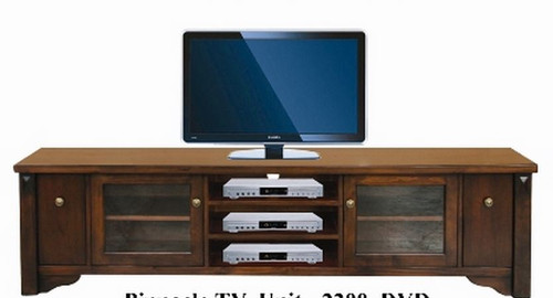 FABULOS  2 DOOR  WITH 3 DVD DRAWER  LOWLINE ENTERTAINMENT  UNIT - (MODEL-16-9-14-14-1-3-12-5) -  2200(W) -  HAZELNUT