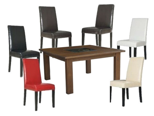 ASHLEY 9 PIECE  DINING SETTING  - WOAL-025( TABLE) + PARIS DINING CHAIRS (LIGHT & DARK LEGS) - 1500(W) x 1500(D) - MOCA
