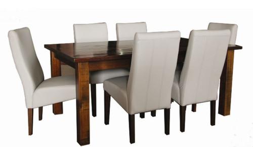 ASIDA  7 PIECE  DINING SETTING - 1500(W) X 900(D) - (MODEL - 2-21-3-3-15-12-9-3 7PC-5X3)-  RUSTIC