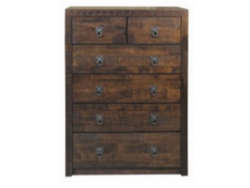 ASIDA  6 DRAWER TALLBOY (MODEL - 2-21-3-3-15-12-9-3) - 1200(H) X 900(W) - RUSTIC