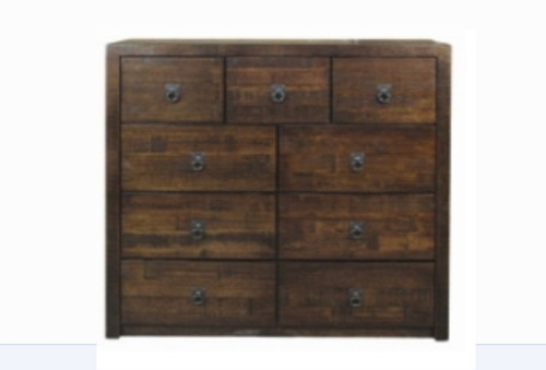 ASIDA   9 DRAWER TALLBOY  ( MODEL - 2-21-3-3-15-12-9-3) - 1200(H)X1200(W)-RUSTIC