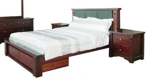 FABULOS  KING 3 PIECE BEDSIDE BEDROOM SUITE  ( MODEL-16-9-14-14-1-3-12-5 ) - HAZELNUT