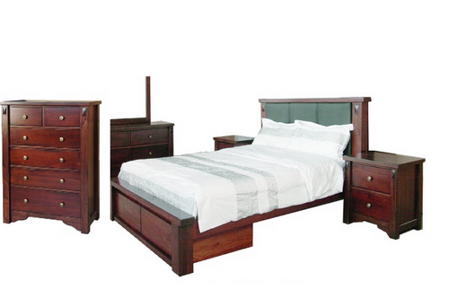 FABULOS  KING 4 PIECE TALLBOY BEDROOM SUITE  ( MODEL-16-9-14-14-1-3-12-5 ) - HAZELNUT