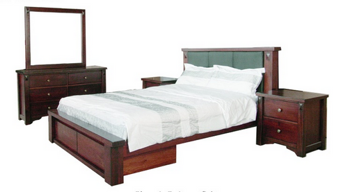 FABULOS  QUEEN 5 PIECE DRESSER BEDROOM SUITE  ( MODEL-16-9-14-14-1-3-12-5 ) - HAZELNUT