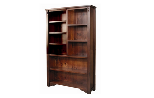 FABULOS  7x4 STAGGERED  BOOKCASE 2000(H)  x 1200(W) -  ( MODEL-16-9-14-14-1-3-12-5 )  - HAZELNUT
