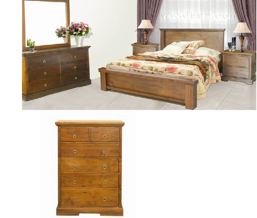 DONSILIA  QUEEN 6 PIECE (THE LOT)  BEDROOM SUITE  ( MODEL- 11-1-11-1-4-21 ) - RUSTIC