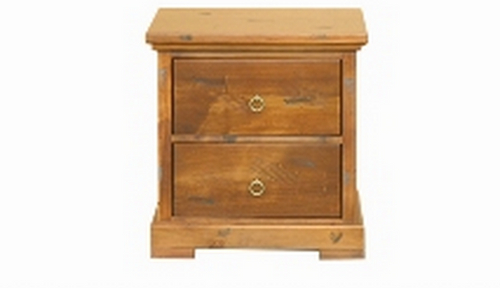 DONSILIA 2  DRAWER BEDSIDE TABLE ( MODEL- 11-1-11-1-4-21 )  - RUSTIC