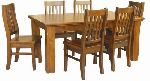 DONSILIA  7 PIECE DINING 6x3 SETTING - 1800(L) X 900(W) -  ( MODEL- 11-1-11-1-4-21 )  - RUSTIC