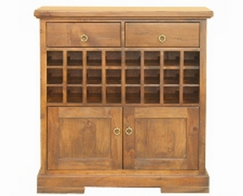 DONSILIA  2 DOOR 2 DRAWER WITH WINE RACK  -1065(H) X 1020(W) -  ( MODEL- 11-1-11-1-4-21 )  - RUSTIC