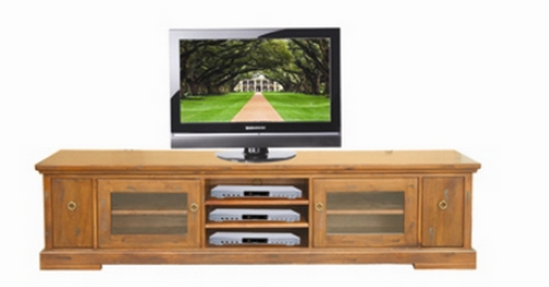 DONSILIA LOWLINE TV DVD ENTERTAINMENT UNIT  WITH DOORS & CONSOLES STORAGE  - ( MODEL- 11-1-11-1-4-21 )  - 565(H) X 2200(W) - RUSTIC