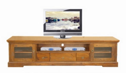 DONSILIA  LOWLINE TV  ENTERTAINMENT UNIT  WITH 2  DOOR & 3  DRAWERS  - ( MODEL- 11-1-11-1-4-21 )  - 565(H) X 2200(W) - RUSTIC