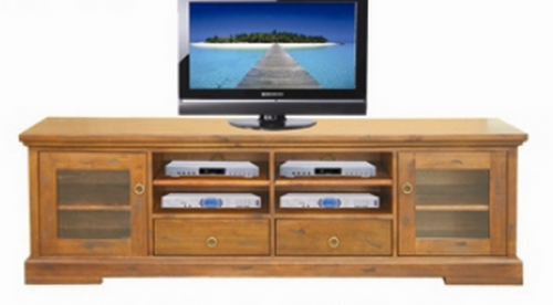 DONSILIA LOWLINE TV  ENTERTAINMENT UNIT  WITH 2  DOOR & 2  DRAWER - ( MODEL- 11-1-11-1-4-21 )  -  600(H) X 2000(W) -  RUSTIC