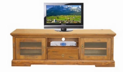 DONSILIA  LOWLINE TV  ENTERTAINMENT UNIT  WITH 2  DOOR & 1 DRAWER - ( MODEL- 11-1-11-1-4-21 )  - 545(H) X 1650(W) - RUSTIC