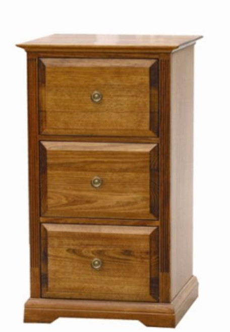 CHURACHS  3 DRAWER FILING   -  ( MODEL -1-19-8-20-15-14) - AVAILABLE IN COTTAGE TEAK  OR  ALMOND