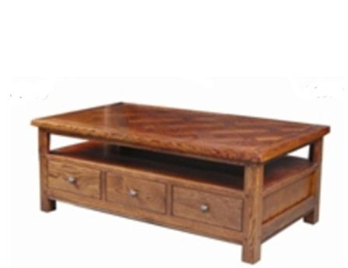 DUOLYN AMERICAN OAK COFFEE TABLE  WITH 3 DRAWER - (MODEL16-1--1-13-15-21-914-20)- 1350(W) X 750(D) - AS PICTURED