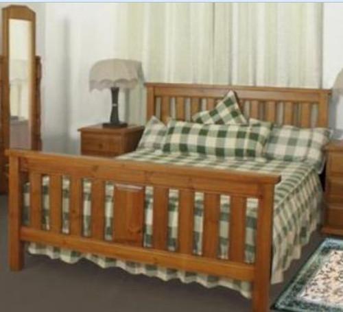 KING SINGLE LUNAMIS BED - (MODEL:3-8-1-12-20-15-14) - CHESTNUT (PICTURED) OR WALNUT