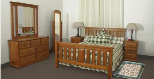 LUNAMIS DOUBLE OR  QUEEN 5 PIECE (DRESSER) BEDROOM SUITE  - (MODEL 3-8-1-12-20-15-14) -  AVAILABLE IN CHESTNUT OR WALNUT