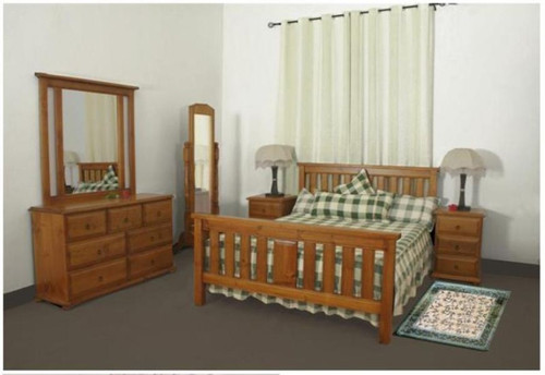 LUNAMIS SINGLE OR KING SINGLE 5 PIECE   BEDROOM SUITE  (MODEL 3-8-1-12-20-15-14) -  AVAILABLE IN CHESTNUT OR WALNUT