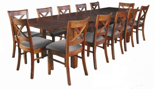 DUOLYN  EXTENSION  DINING TABLE ONLY (NOT AS PICTURED) - (MODEL16-1-18-1-13-15-21-914-20) - 1800 - 3460(L) X 1000(W) - WARM TEAK