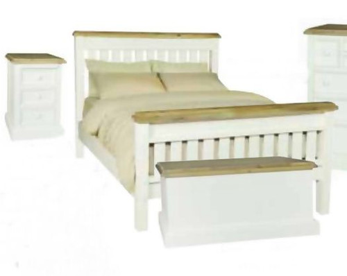 BARRITZ QUEEN 3 PIECE BEDSIDE BEDROOM SUITE -  2  TONE BED - WEATHERED OAK / ICED WHITE