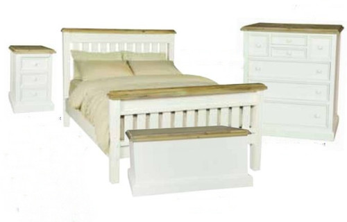 BARRITZ QUEEN 4 PIECE (TALLBOY) BEDROOM SUITE -  2 TONE BED - WEATHERED OAK / ICED WHITE
