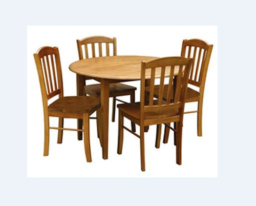 ALPINE 5 PIECE ROUND DROPSIDE DINING SETTING - 1050(DIAM) - ANTIQUE OAK