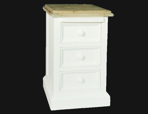 BARRITZ  (BRZ-BC018)  3 DRAWER BEDSIDE   -  WEATHERED OAK / ICED WHITE