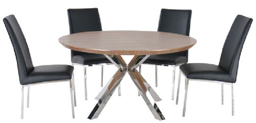 NORDIC 5 PIECE ROUND DINING SETTING - 1200(DIAM) - STAINLESS FRAME /  WALNUT VENEER TOP