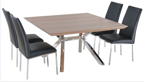 NORDIC 7 PIECE DINING SETTING STAINLESS FRAME / WALNUT VENEER TOP