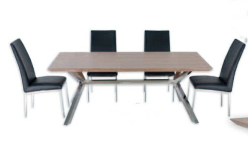 NORDIC 7 PIECE DINING SETTING - 2000(L) X 1000(W) - STAINLESS FRAME /  VENEER TOP